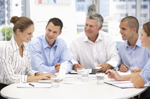 Colleagues in business meeting